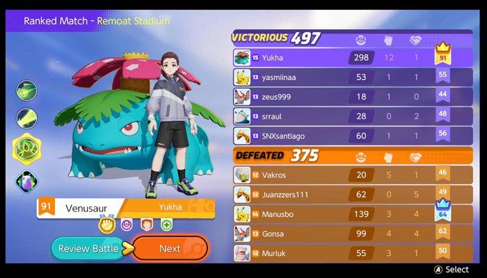 Pokémon UNITE ranked